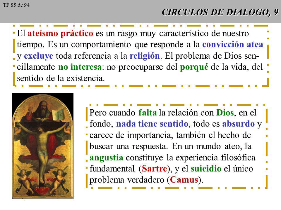 CIRCULOS DE DIALOGO, 9 El ateísmo práctico es un rasgo muy característico de nuestro tiempo. Es un comportamiento que responde a la convicción atea y