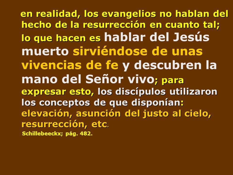 en realidad, los evangelios no hablan del hecho de la resurrección en cuanto tal; lo que hacen es ; para expresar esto, los discípulos utilizaron los