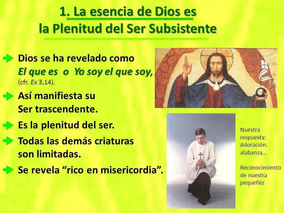 1. La esencia de Dios es la Plenitud del Ser Subsistente El que es o Yo soy el que soy, Dios se ha revelado como El que es o Yo soy el que soy, (cfr.