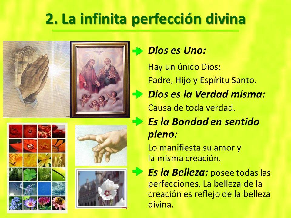 2.La infinita perfección divina Dios es Uno: Hay un único Dios: Padre, Hijo y Espíritu Santo.
