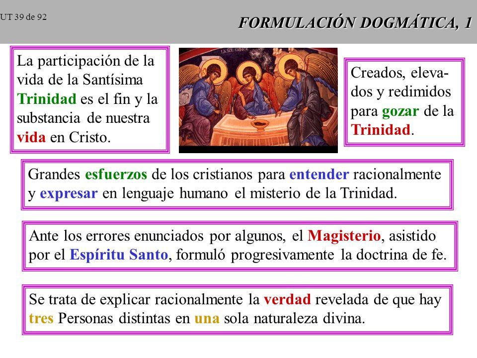 FORMULACIÓN DOGMÁTICA, 1 La participación de la vida de la Santísima Trinidad es el fin y la substancia de nuestra vida en Cristo.