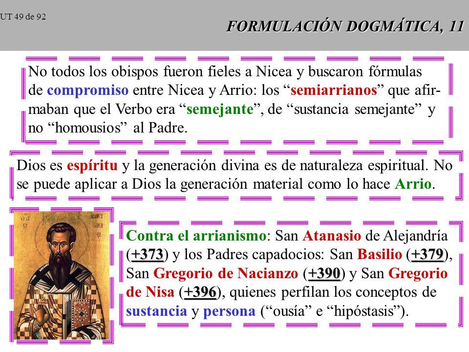 FORMULACIÓN DOGMÁTICA, 10 325 En el año 325 se reunió el Concilio de Nicea en presencia del emperador Constantino con más de 300 obispos. Los Padres d