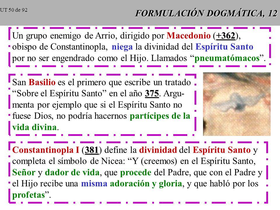 FORMULACIÓN DOGMÁTICA, 11 No todos los obispos fueron fieles a Nicea y buscaron fórmulas de compromiso entre Nicea y Arrio: los semiarrianos que afir-