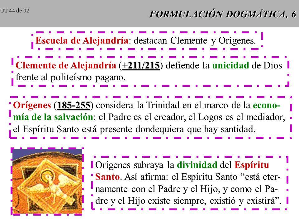 FORMULACIÓN DOGMÁTICA, 6 Escuela de Alejandría: destacan Clemente y Orígenes.
