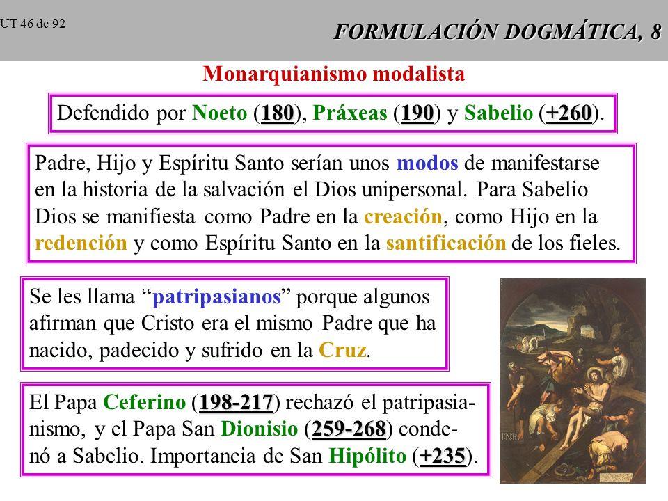 FORMULACIÓN DOGMÁTICA, 7 Tertuliano, bajo el vocablo monarquianismo, agrupa a los que, al defender la unidad de Dios caen en el error de admitir en Di