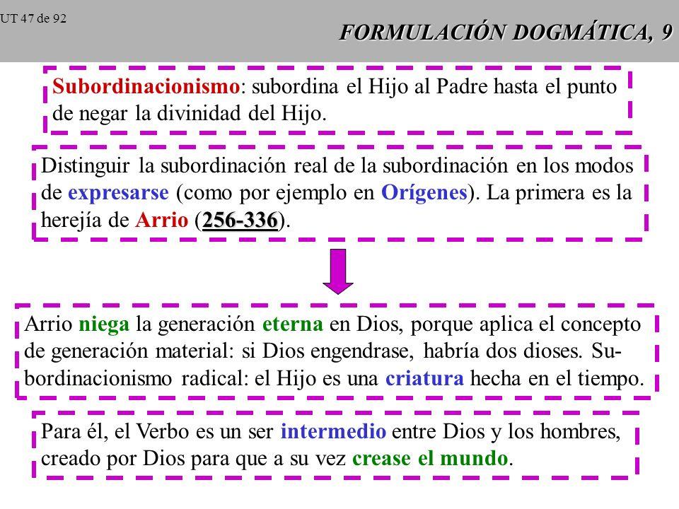 FORMULACIÓN DOGMÁTICA, 9 Subordinacionismo: subordina el Hijo al Padre hasta el punto de negar la divinidad del Hijo.