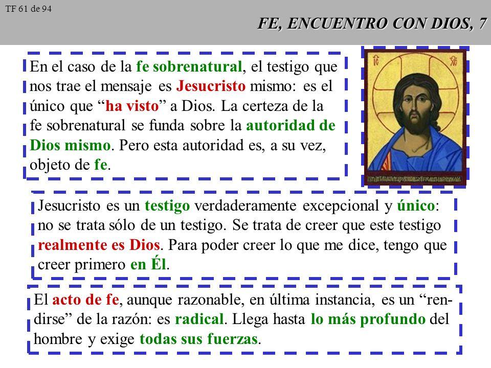 FE, ENCUENTRO CON DIOS, 8 En el caso de la fe cristiana, el papel de la vo- luntad es esencial.