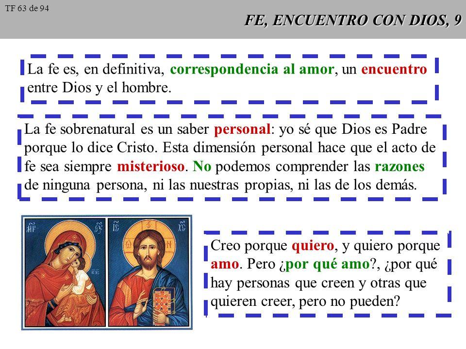 FE, ENCUENTRO CON DIOS, 9 La fe es, en definitiva, correspondencia al amor, un encuentro entre Dios y el hombre. La fe sobrenatural es un saber person