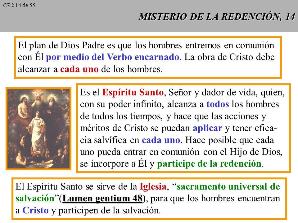 MISTERIO DE LA REDENCIÓN, 13 Existe un orden en la dispensación de la eco- nomía salvífica: primero Cristo debía satisfa- cer el pecado de la humanida