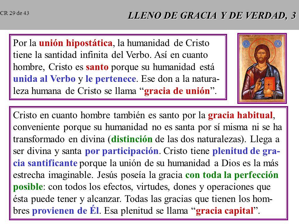 LLENO DE GRACIA Y DE VERDAD, 3 Por la unión hipostática, la humanidad de Cristo tiene la santidad infinita del Verbo.