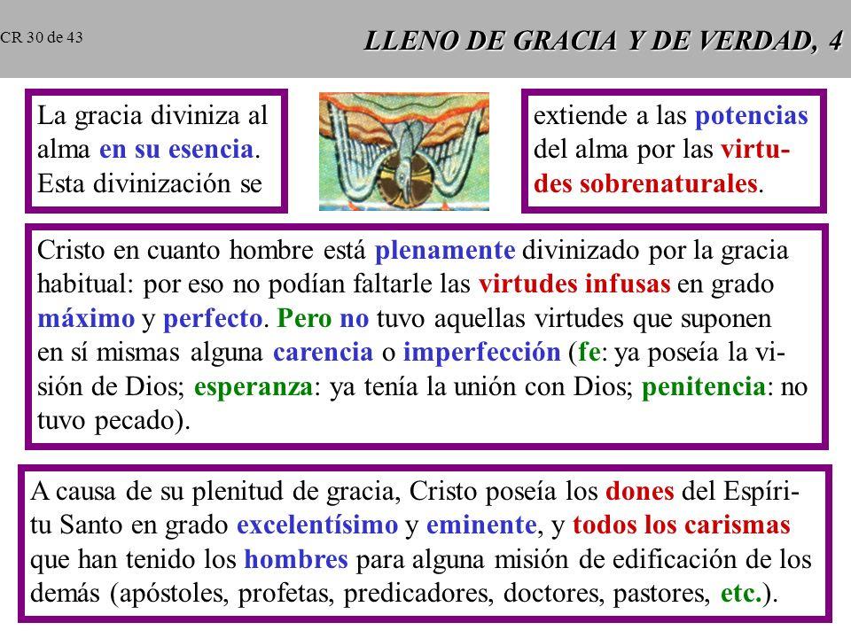 LLENO DE GRACIA Y DE VERDAD, 4 La gracia diviniza al alma en su esencia.