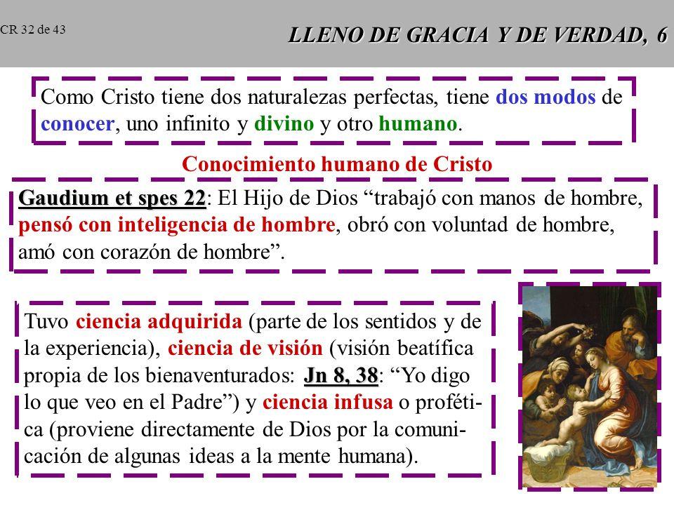 LLENO DE GRACIA Y DE VERDAD, 6 Como Cristo tiene dos naturalezas perfectas, tiene dos modos de conocer, uno infinito y divino y otro humano.