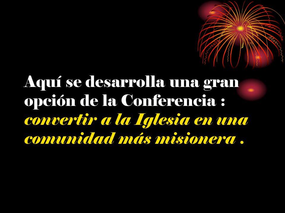 Aquí se desarrolla una gran opción de la Conferencia : convertir a la Iglesia en una comunidad más misionera.