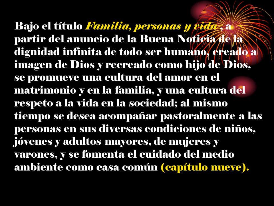 Bajo el título Familia, personas y vida, a partir del anuncio de la Buena Noticia de la dignidad infinita de todo ser humano, creado a imagen de Dios