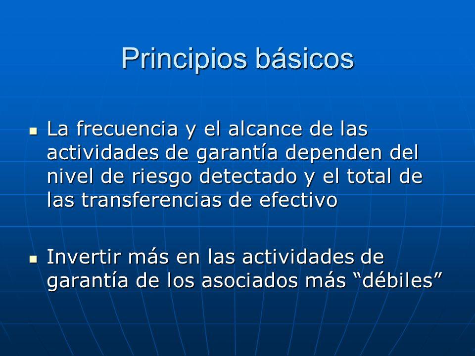 Principios básicos La frecuencia y el alcance de las actividades de garantía dependen del nivel de riesgo detectado y el total de las transferencias d