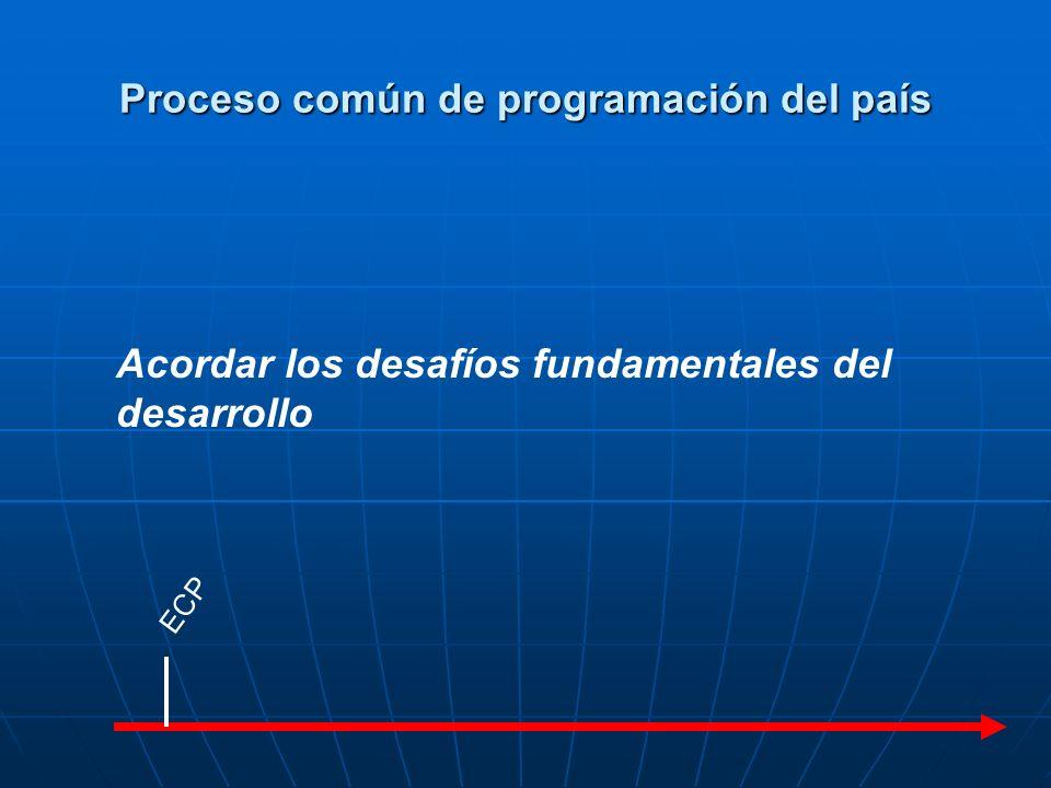 ECP MANUD Matriz de resultados Acordar los resultados comunes esperados y la división de las tareas Proceso común de programación del país