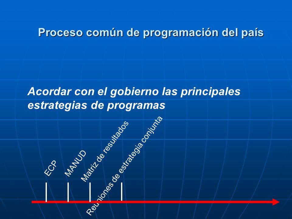 Reuniones de estrategia conjunta ECP MANUD Matriz de resultados Acordar con el gobierno las principales estrategias de programas Proceso común de programación del país