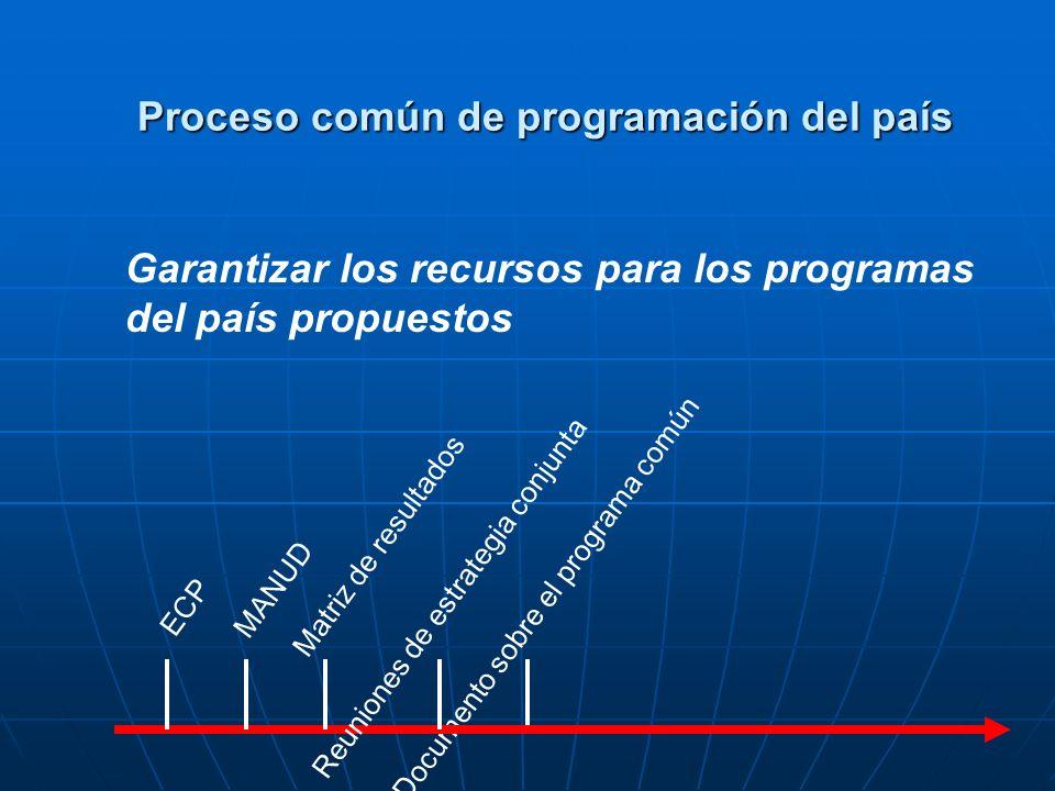 Plan de acción del programa del país ECP MANUD Matriz de resultados Reuniones de estrategia conjuntaDocumento sobre el programa común Preparar y firmar el acuerdo sobre el nuevo programa del país con elgobierno Proceso común de programación del país