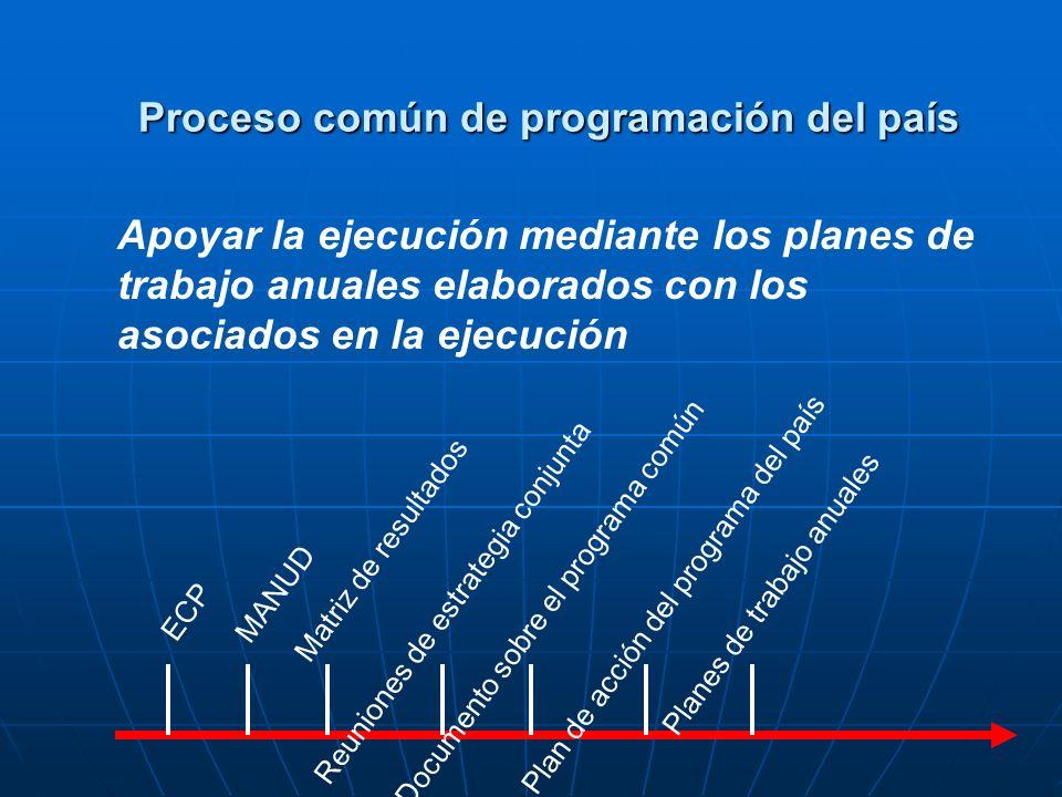 Planes de trabajo anuales ECP MANUD Matriz de resultados Reuniones de estrategia conjuntaDocumento sobre el programa común Plan de acción del programa del país Apoyar la ejecución mediante los planes de trabajo anuales elaborados con los asociados en la ejecución Proceso común de programación del país