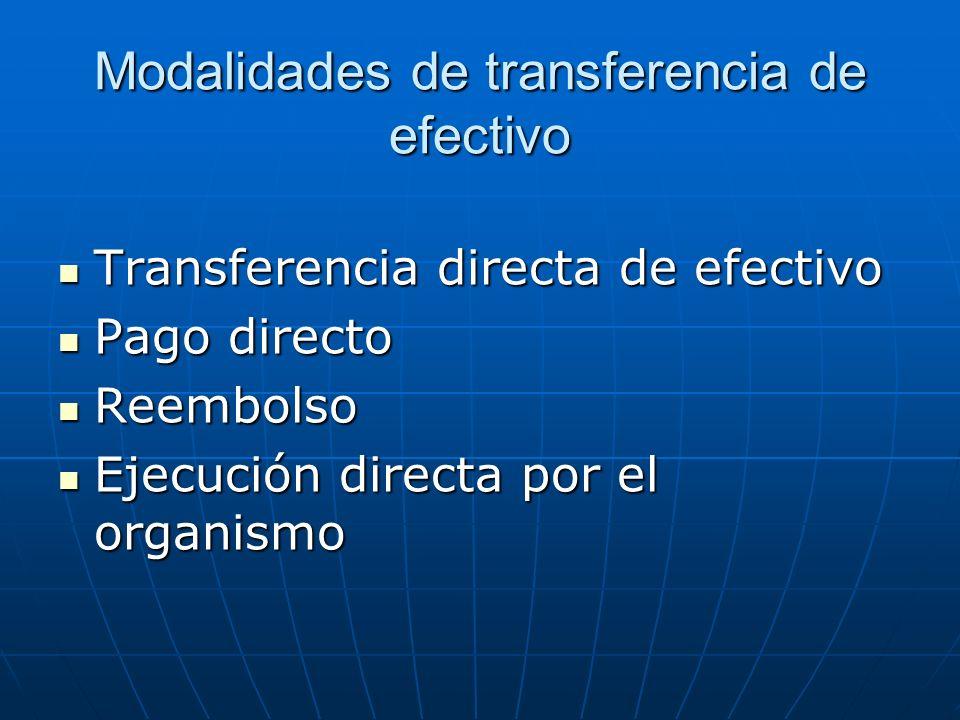 Modalidades de transferencia de efectivo Transferencia directa de efectivo Transferencia directa de efectivo Pago directo Pago directo Reembolso Reemb