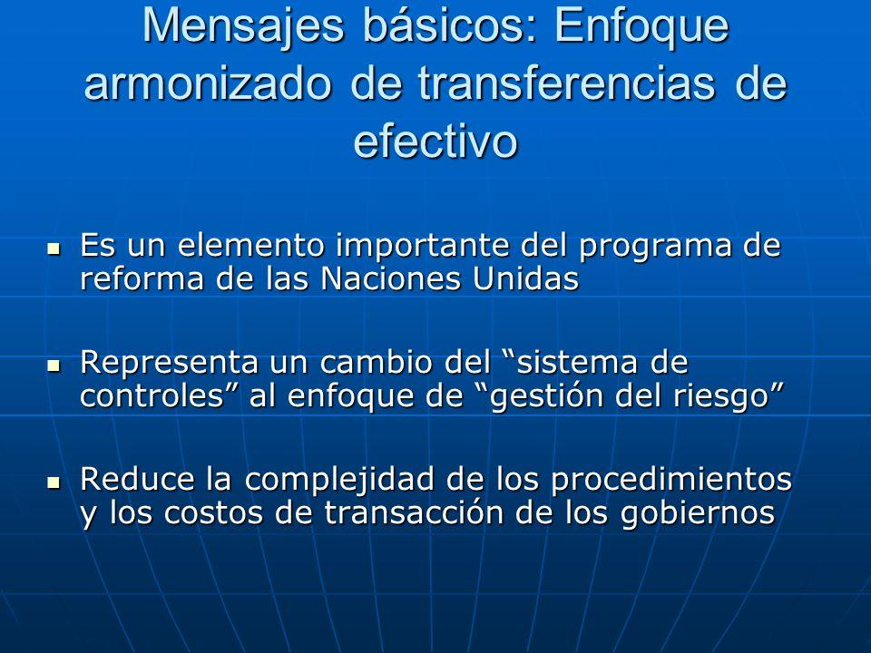 Mensajes básicos: Enfoque armonizado de transferencias de efectivo Es un elemento importante del programa de reforma de las Naciones Unidas Es un elem