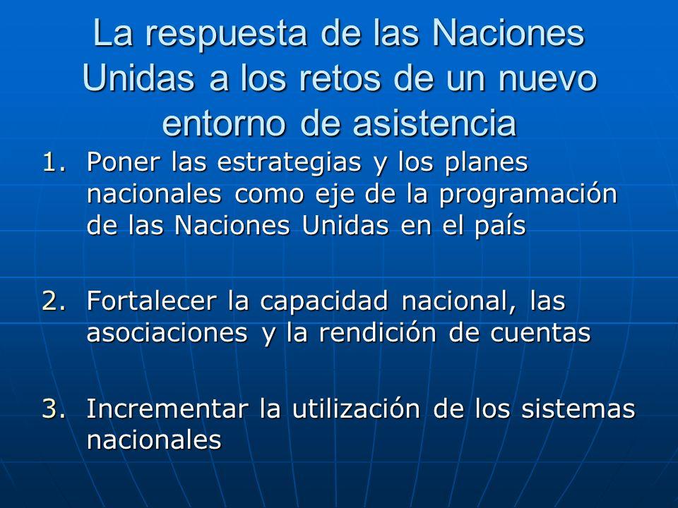 Poner las estrategias y los planes nacionales como eje de la programación de las Naciones Unidas en el país MANUD – La estrategia de las Naciones Unidas en apoyo de los planes nacionaless 3 a 5 resultados relacionados con los ODM, que tengan en cuenta la ventaja comparativa de las Naciones Unidas Gestión de la contribución del organismo de las Naciones Unidas a los resultados del MANUD Proyectos de las Naciones Unidas Programas conjuntos ECP(/DELP) – Análisis y evaluación comunes Análisis basado en cuestiones nacionales decisivas en torno a la Declaración del Milenio, los ODM y las conferencias mundiales Análisis y planificación nacionales y de los donantes Presupuesta- ción y programación nacionales y de los donantes MANUD – Programa Común de Naciones Unidas Organismo principal