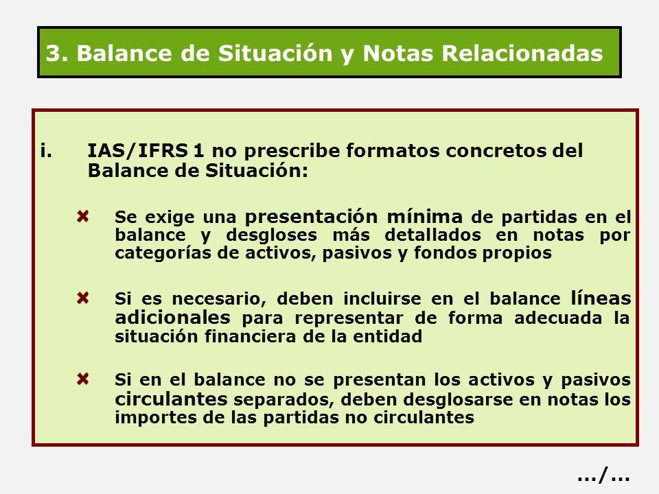 3. Balance de Situación y Notas Relacionadas i.IAS/IFRS 1 no prescribe formatos concretos del Balance de Situación: Se exige una presentación mínima d