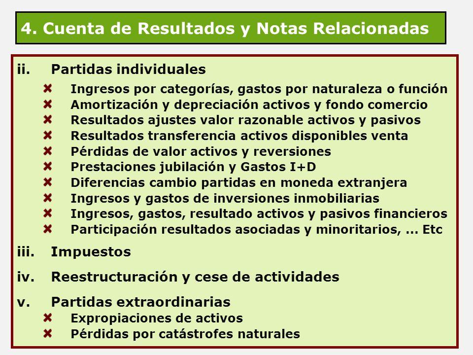 4. Cuenta de Resultados y Notas Relacionadas ii.Partidas individuales Ingresos por categorías, gastos por naturaleza o función Amortización y deprecia
