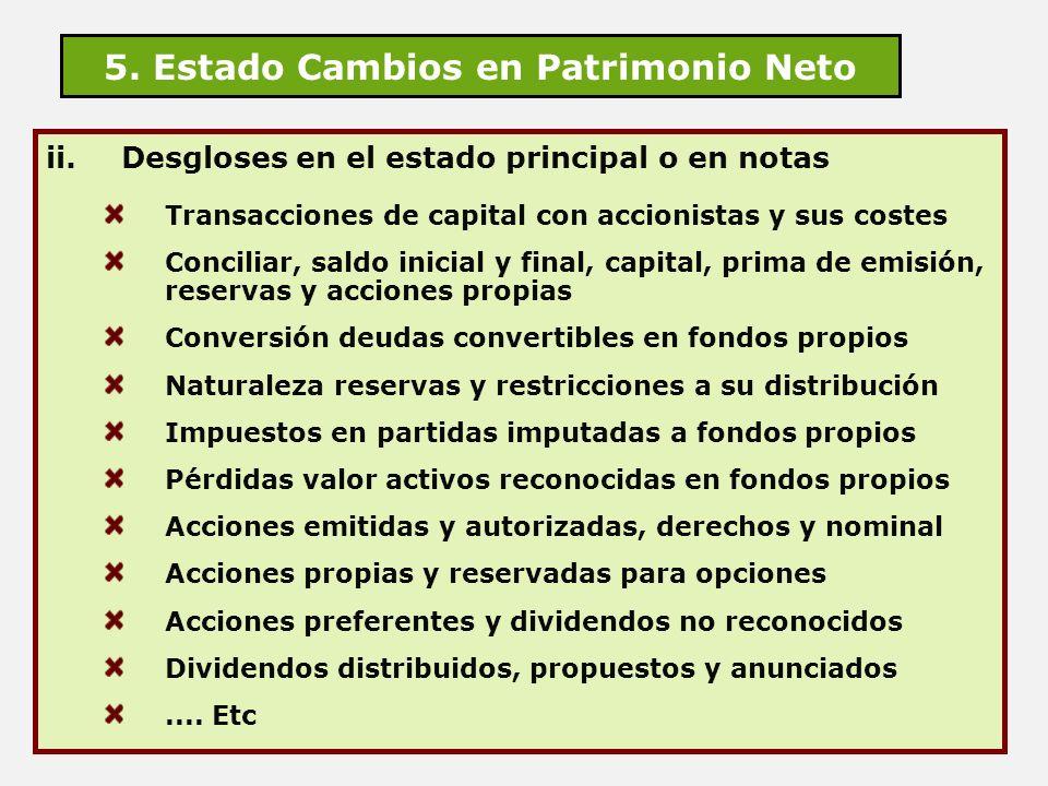 5. Estado Cambios en Patrimonio Neto ii.Desgloses en el estado principal o en notas Transacciones de capital con accionistas y sus costes Conciliar, s