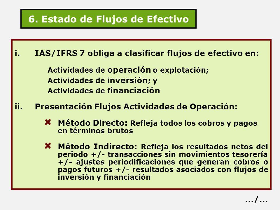 6. Estado de Flujos de Efectivo i.IAS/IFRS 7 obliga a clasificar flujos de efectivo en: Actividades de operación o explotación; Actividades de i nvers