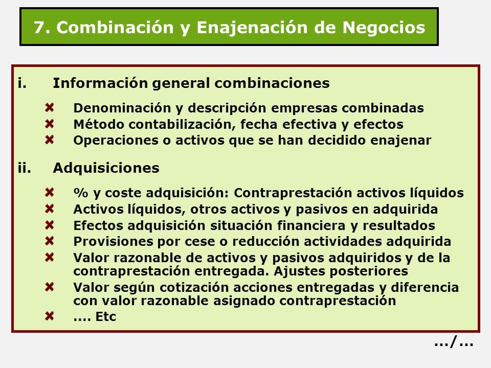 7. Combinación y Enajenación de Negocios i.Información general combinaciones Denominación y descripción empresas combinadas Método contabilización, fe