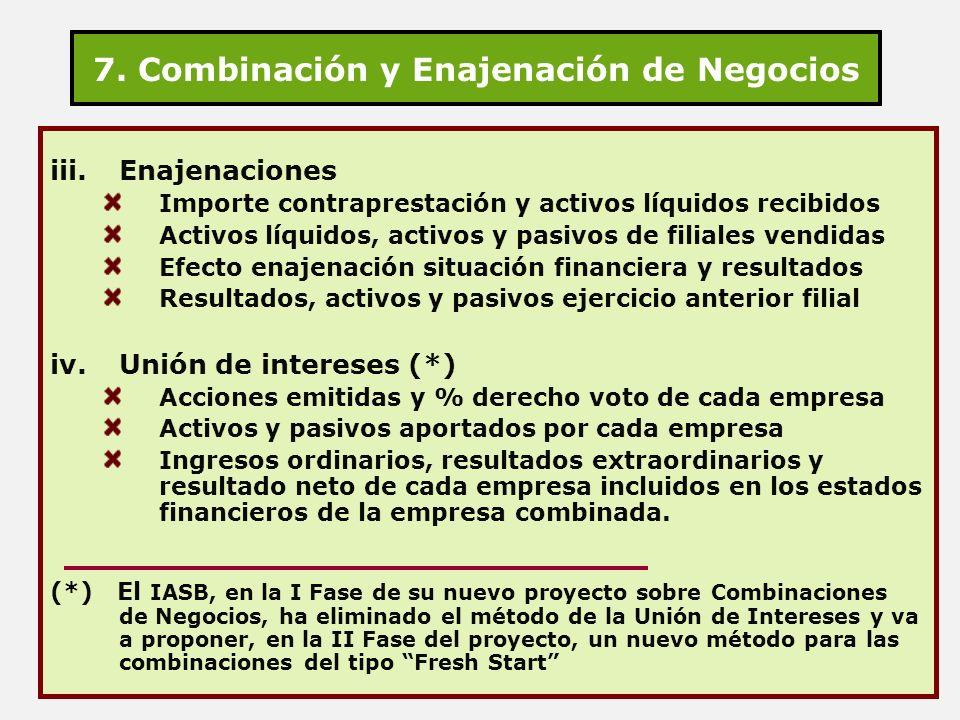 7. Combinación y Enajenación de Negocios iii.Enajenaciones Importe contraprestación y activos líquidos recibidos Activos líquidos, activos y pasivos d