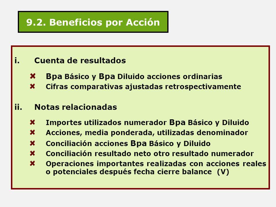 9.2. Beneficios por Acción i.Cuenta de resultados Bpa Básico y Bpa Diluido acciones ordinarias Cifras comparativas ajustadas retrospectivamente ii.Not