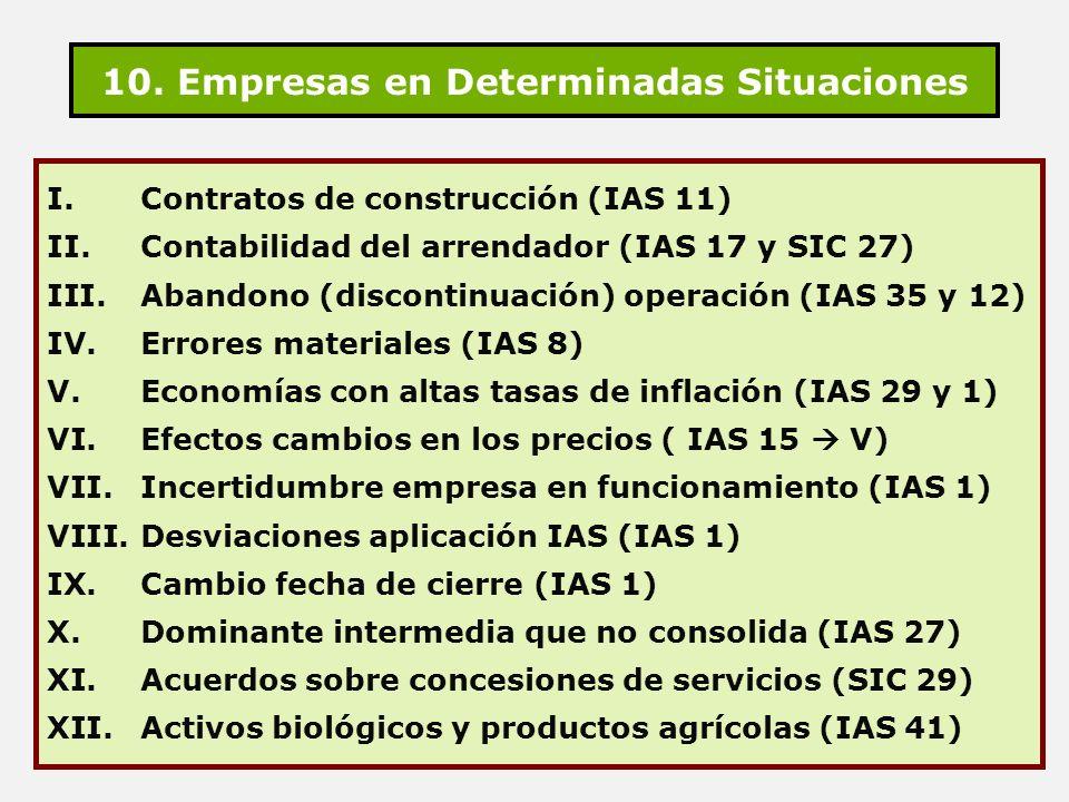 10. Empresas en Determinadas Situaciones I. Contratos de construcción (IAS 11) II. Contabilidad del arrendador (IAS 17 y SIC 27) III. Abandono (discon