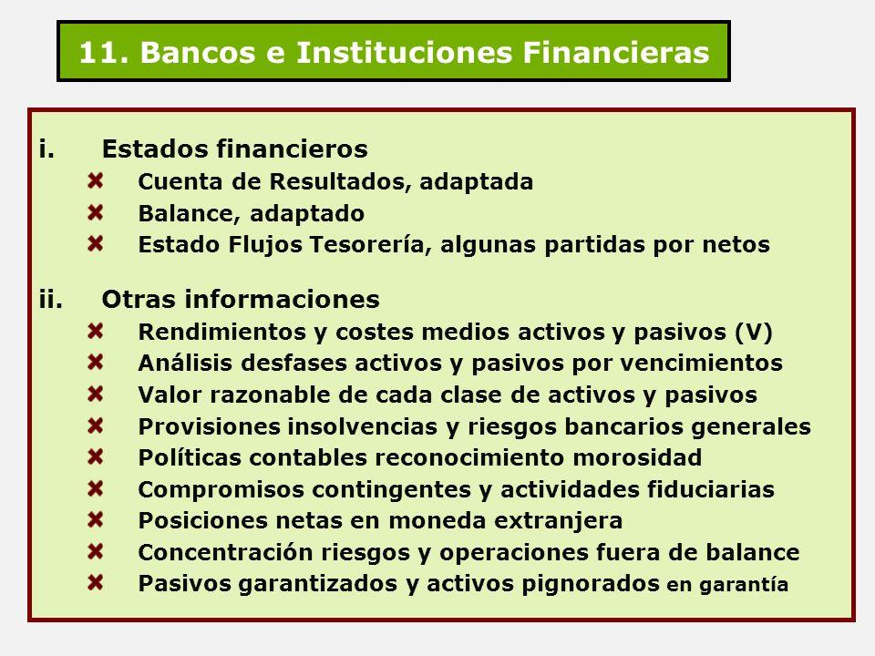11. Bancos e Instituciones Financieras i.Estados financieros Cuenta de Resultados, adaptada Balance, adaptado Estado Flujos Tesorería, algunas partida