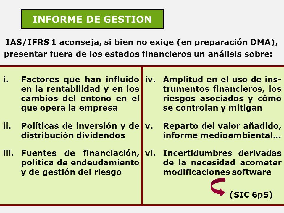 INFORME DE GESTION IAS/IFRS 1 aconseja, si bien no exige (en preparación DMA), presentar fuera de los estados financieros un análisis sobre: i.Factore