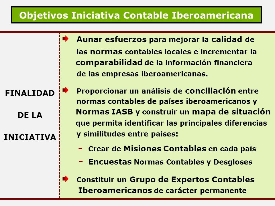 Objetivos Iniciativa Contable Iberoamericana FINALIDAD DE LA INICIATIVA Aunar esfuerzos para mejorar la calidad de las normas contables locales e incr
