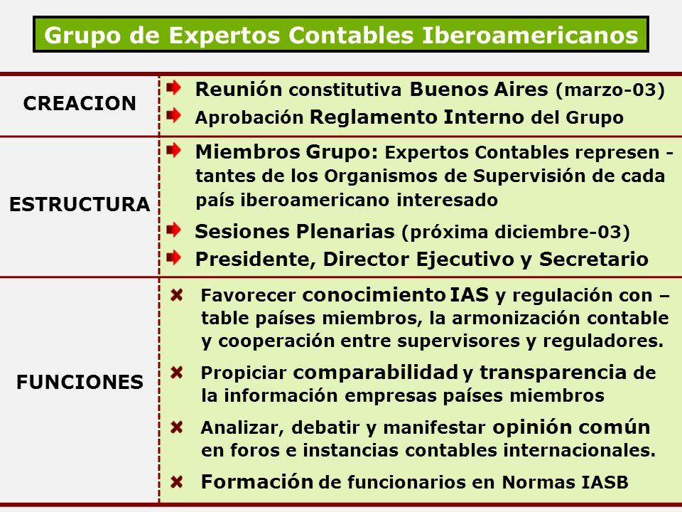 Grupo de Expertos Contables Iberoamericanos CREACION Reunión constitutiva Buenos Aires (marzo-03) Aprobación Reglamento Interno del Grupo ESTRUCTURA M