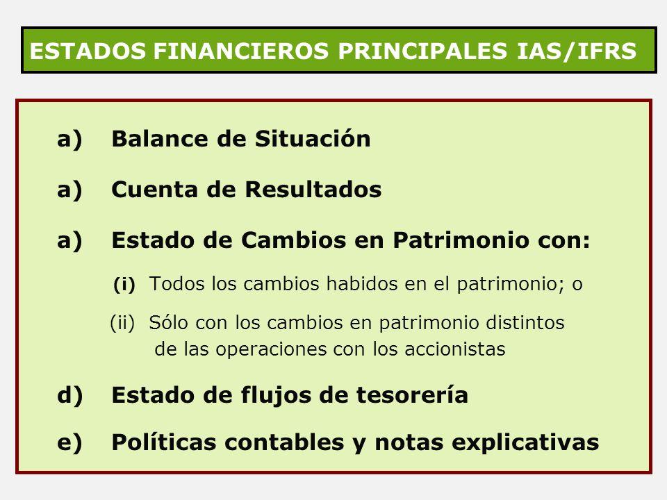 ESTADOS FINANCIEROS PRINCIPALES IAS/IFRS a) Balance de Situación a) Cuenta de Resultados a) Estado de Cambios en Patrimonio con: (i) Todos los cambios