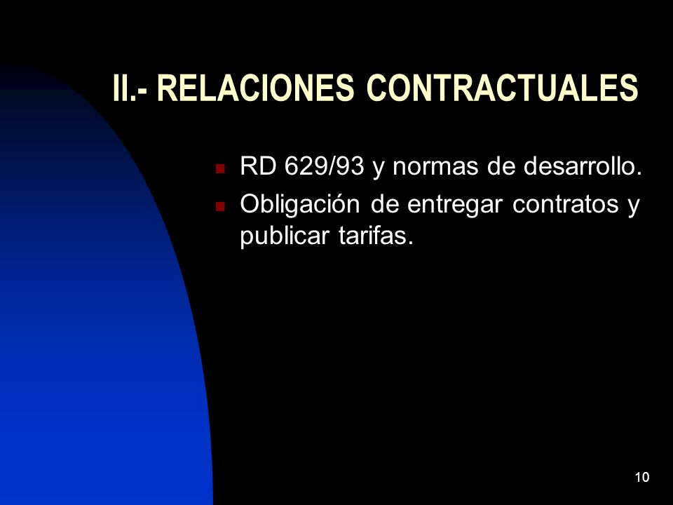10 II.- RELACIONES CONTRACTUALES RD 629/93 y normas de desarrollo. Obligación de entregar contratos y publicar tarifas.