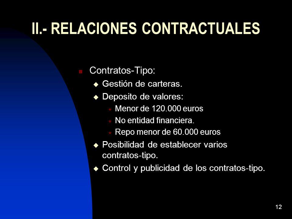12 II.- RELACIONES CONTRACTUALES Contratos-Tipo: Gestión de carteras. Deposito de valores: Menor de 120.000 euros No entidad financiera. Repo menor de
