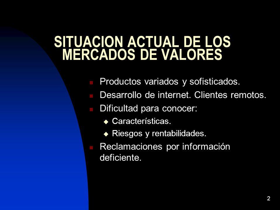 2 SITUACION ACTUAL DE LOS MERCADOS DE VALORES Productos variados y sofisticados. Desarrollo de internet. Clientes remotos. Dificultad para conocer: Ca