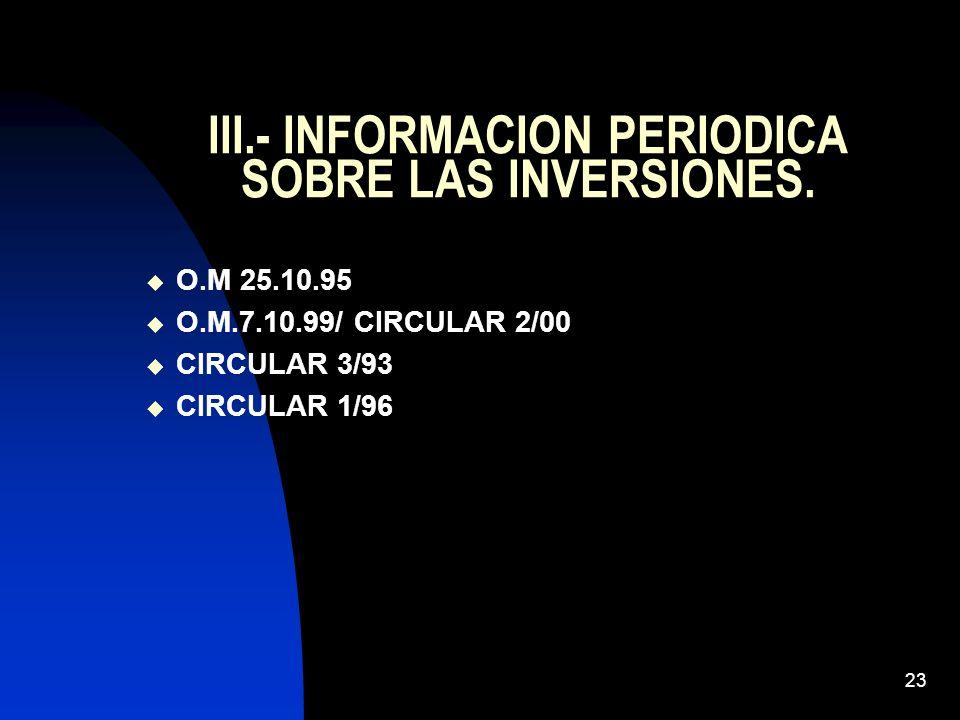 23 III.- INFORMACION PERIODICA SOBRE LAS INVERSIONES. O.M 25.10.95 O.M.7.10.99/ CIRCULAR 2/00 CIRCULAR 3/93 CIRCULAR 1/96