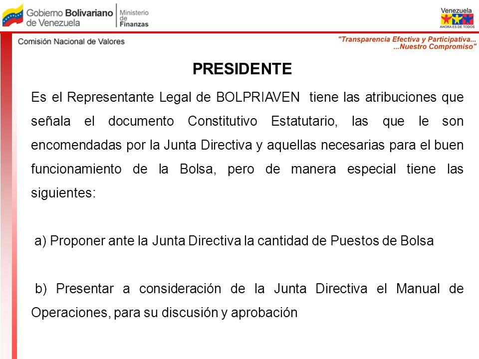 PRESIDENTE Es el Representante Legal de BOLPRIAVEN tiene las atribuciones que señala el documento Constitutivo Estatutario, las que le son encomendada