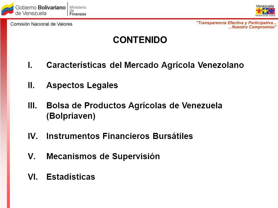 CONTENIDO I.Características del Mercado Agrícola Venezolano II.Aspectos Legales III.Bolsa de Productos Agrícolas de Venezuela (Bolpriaven) IV.Instrume