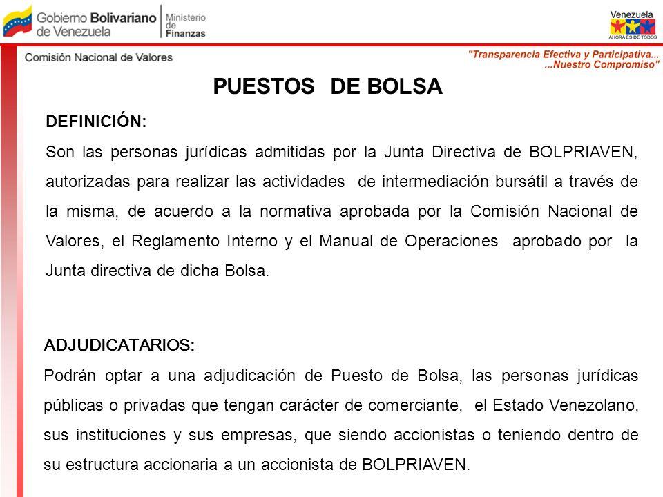 PUESTOS DE BOLSA DEFINICIÓN: Son las personas jurídicas admitidas por la Junta Directiva de BOLPRIAVEN, autorizadas para realizar las actividades de i