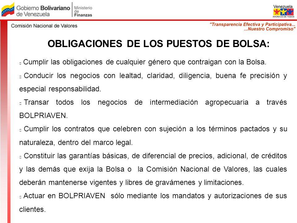 OBLIGACIONES DE LOS PUESTOS DE BOLSA: Cumplir las obligaciones de cualquier género que contraigan con la Bolsa. Conducir los negocios con lealtad, cla