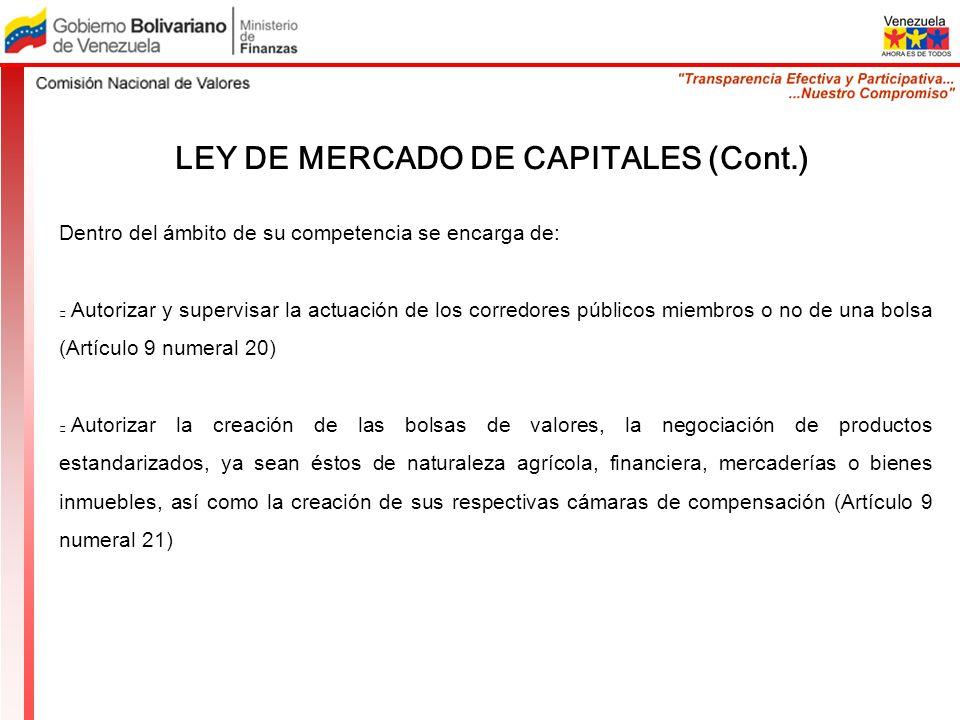 LEY DE MERCADO DE CAPITALES (Cont.) Dentro del ámbito de su competencia se encarga de: Autorizar y supervisar la actuación de los corredores públicos