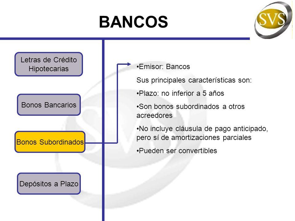 BANCOS Letras de Crédito Hipotecarias Bonos Subordinados Bonos Bancarios Depósitos a Plazo Emisor: Bancos Sus principales características son: Plazo: