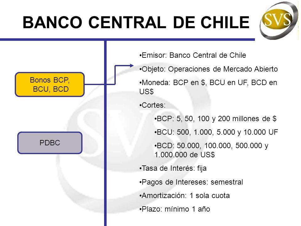 BANCO CENTRAL DE CHILE Bonos BCP, BCU, BCD PDBC Emisor: Banco Central de Chile Objeto: Operaciones de Mercado Abierto Moneda: BCP en $, BCU en UF, BCD